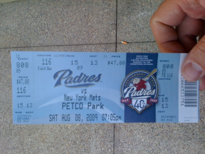 Ticket to Padres vs. New York Mets